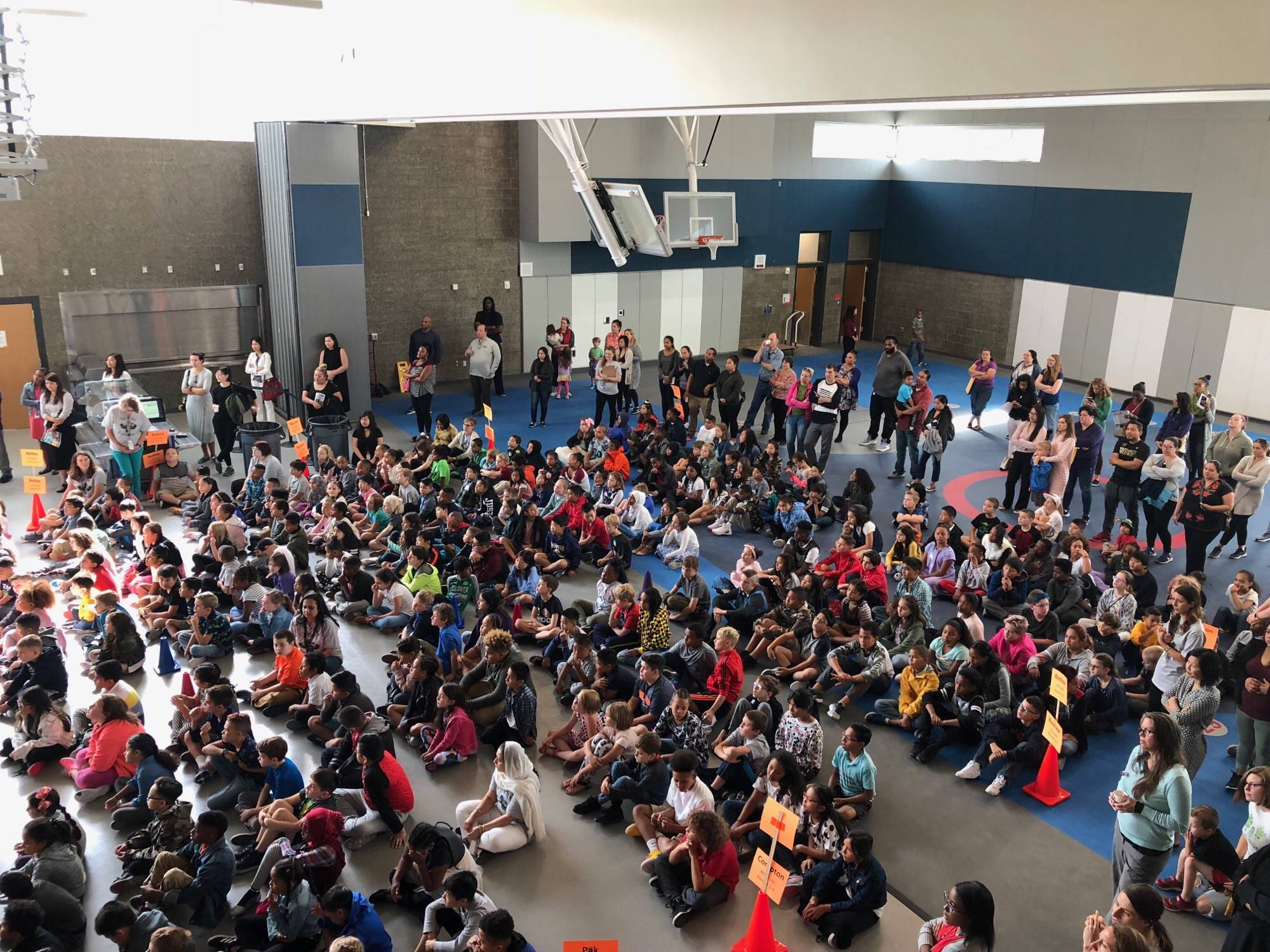 Photo courtesy of Angela Bogan: Sartori Elementary School's first day assembly